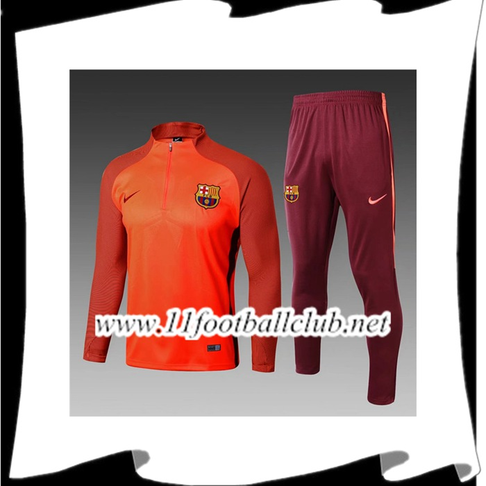 Le Nouveau Ensemble Survetement Foot FC Barcelone Enfant Orange Strike Drill 2017/2018