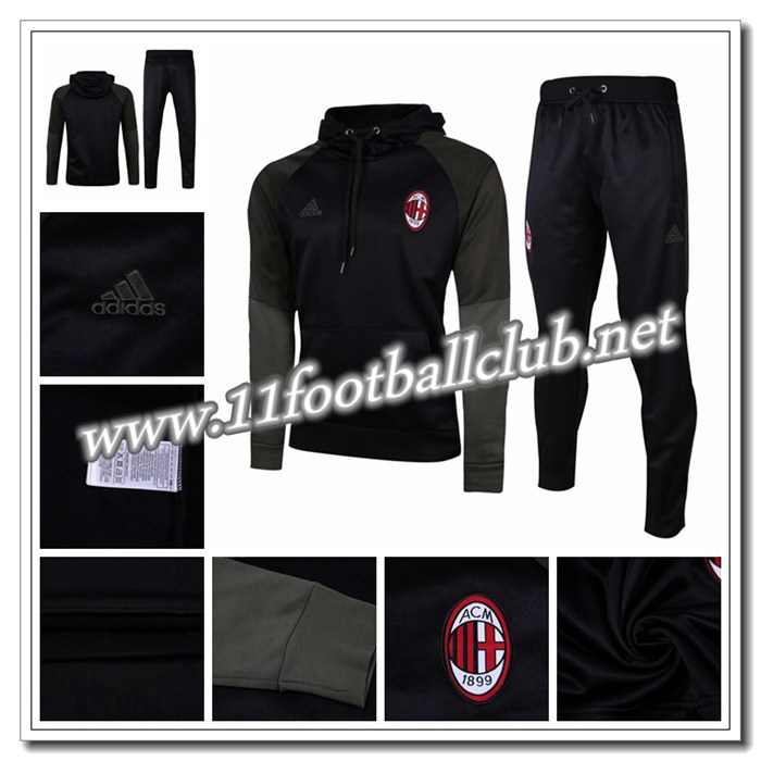Le Nouveaux Sweat Capuche Survetement de Foot Milan AC Noir/Gris 2016/2017 Ensemble Junior