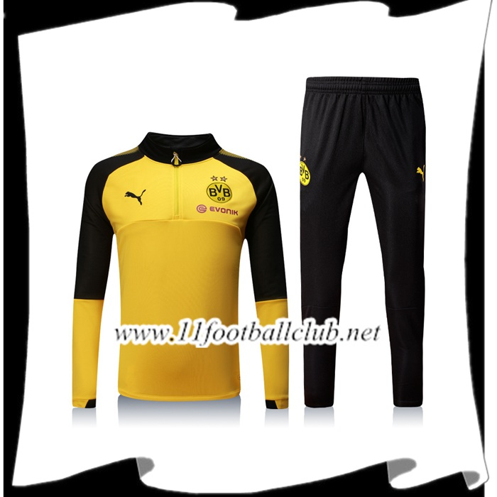 Le Nouveau Survetement de Foot Dortmund BVB Jaune/Noir Ensemble - Veste 2017/2018 Officiel