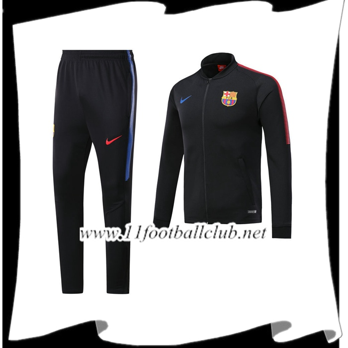 Le Nouveaux Survetement de Foot FC Barcelone Noir Ensemble - Veste 2017/2018 Authentic