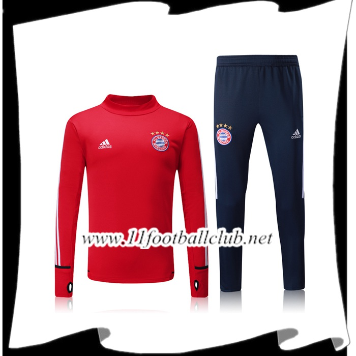 Le Nouveaux Survetement de Foot Bayern Munich Rouge Ensemble 2017/2018 Authentic