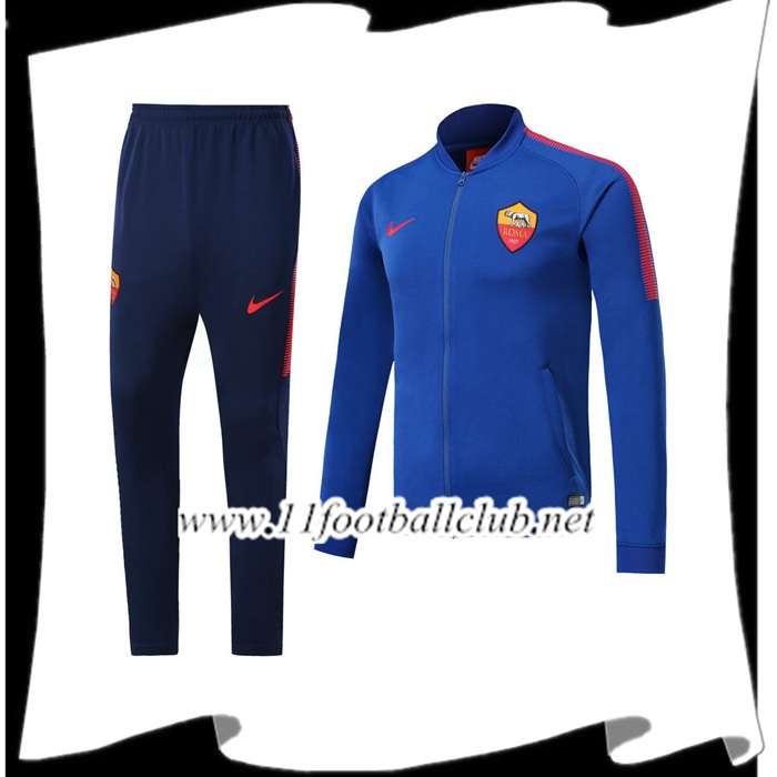 Le Nouveaux Survetement de Foot AS Rome Bleu Ensemble - Veste 2017/2018 Authentic