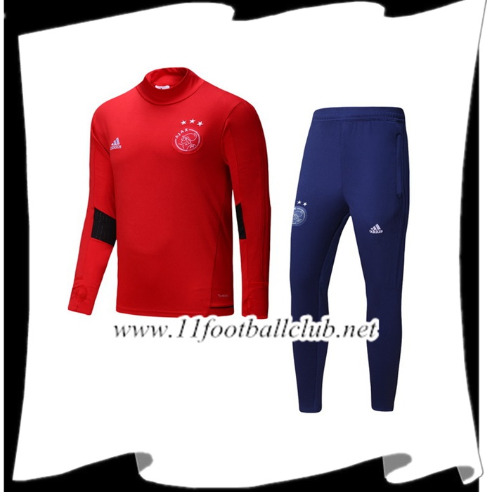 Le Nouveaux Survetement de Foot AFC Ajax Rouge Ensemble 2017/2018 Authentic