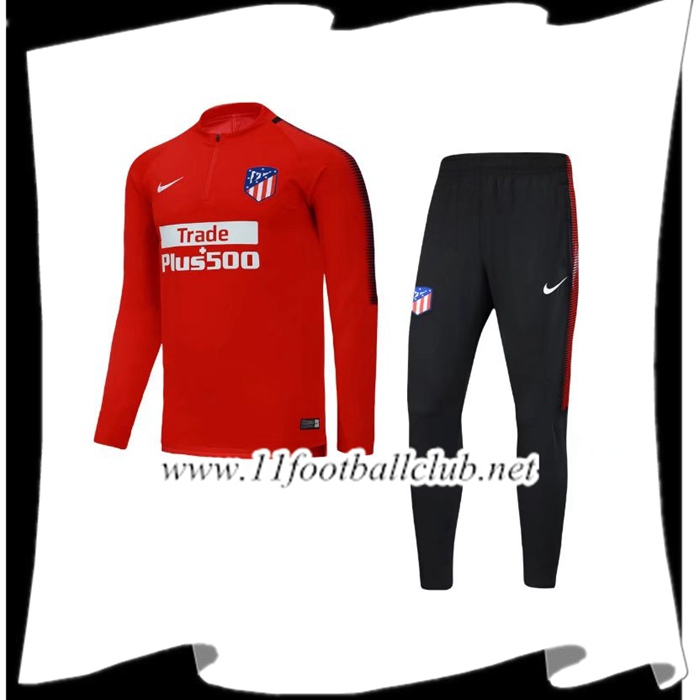 Le Nouveau Survetement de Foot Atletico Madrid Rouge Ensemble 2017/2018 Vintage