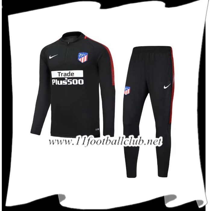 Le Nouveaux Survetement de Foot Atletico Madrid Noir Ensemble 2017/2018 Junior