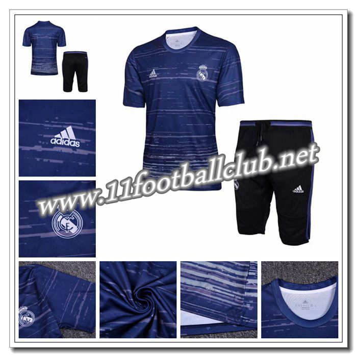 Le Nouveaux PRÉ MATCH Training Real Madrid + Pantalon 3/4 Bleu Marine 2016 2017 Junior