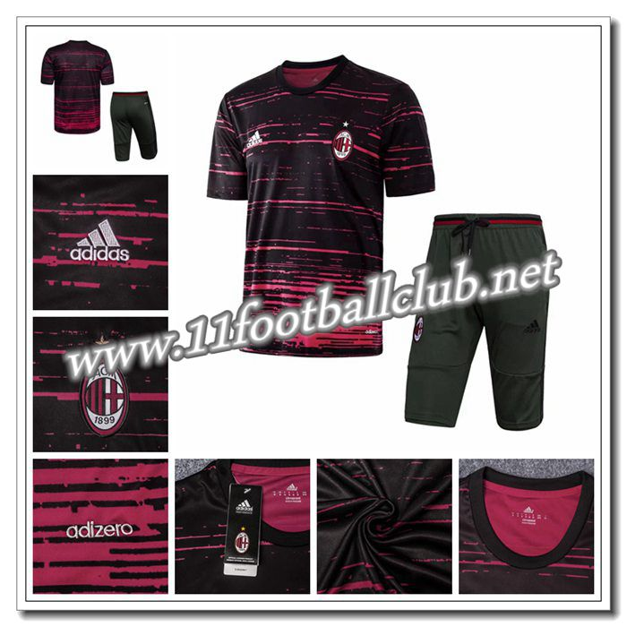 Le Nouveau PRÉ MATCH Training Milan AC + Pantalon 3/4 Noir/Rouge 2016 2017 Officiel