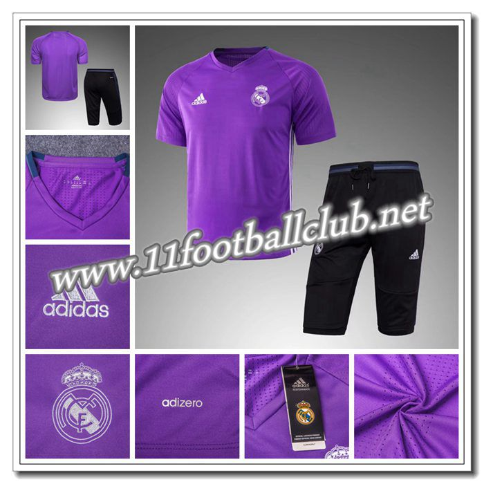 Le Nouveaux PRÉ MATCH Training Real Madrid + Pantalon 3/4 Violet 2016 2017 Authentic