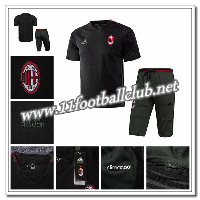 Le Nouveau PRÉ MATCH Training Milan AC + Pantalon 3/4 Noir 2016 2017 Officiel