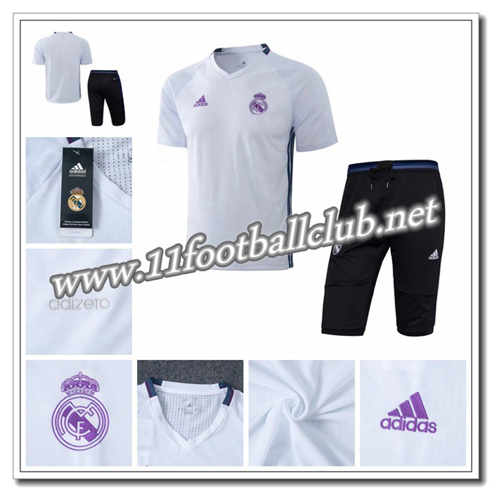 Le Nouveaux PRÉ MATCH Training Real Madrid + Pantalon 3/4 Blanc 2016 2017 Authentic