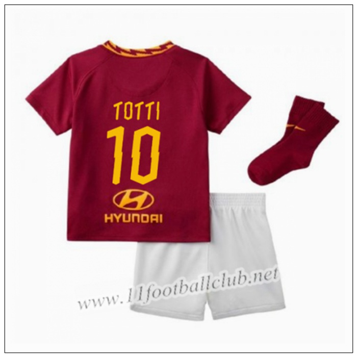 Officiel Nouveau Maillot AS Roma TOTTI 10 Enfant Domicile Rouge Nike 19/20 Junior