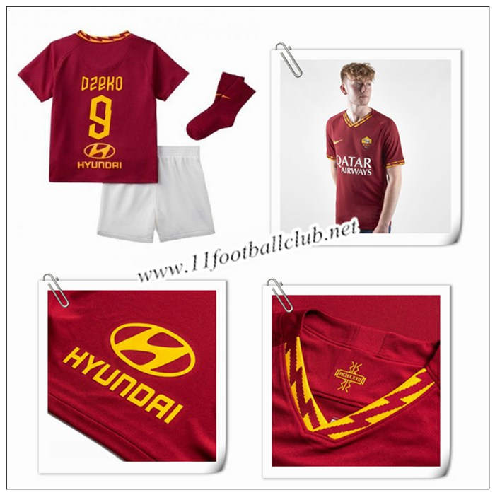 Le Nouveau Maillot du AS Roma DZEKO 9 Enfant Domicile Rouge 2019/20 Authentic
