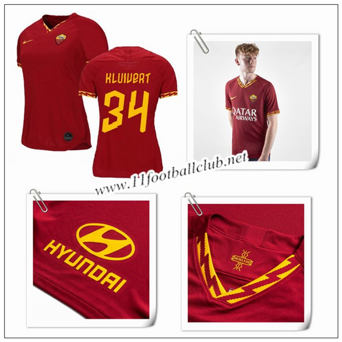 Le Nouveau Maillot du AS Roma KLUIVERT 34 Femme Domicile Rouge 2019/20 Authentic