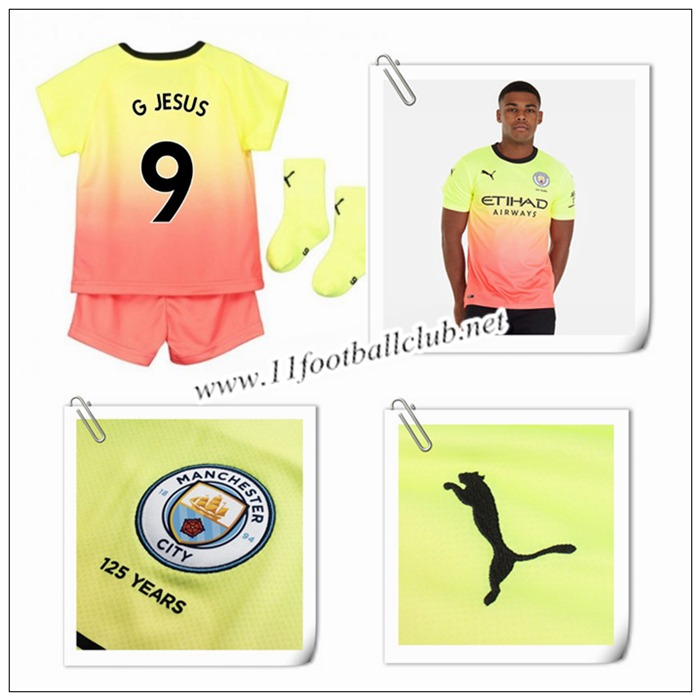 Le Nouveau Maillot du Manchester City G Jesus 9 Enfant Third Orange/Jaune 2019/20 Flocage