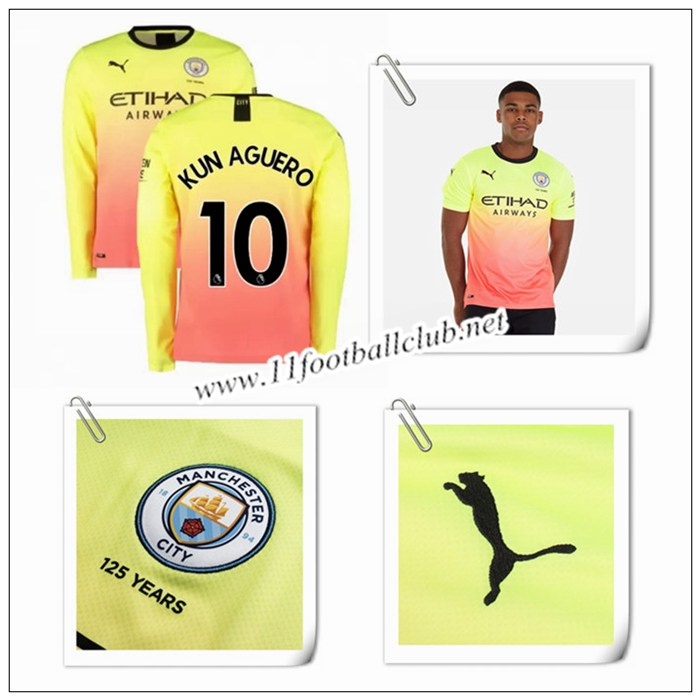 Le Nouveau Maillot du Man City KUN AGUERO 10 Manche Longue Third Orange/Jaune 2019/20 Flocage