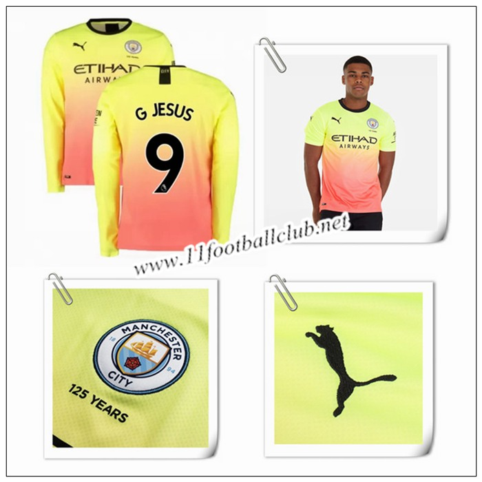 Le Nouveau Maillot du Man City G Jesus 9 Manche Longue Third Orange/Jaune 2019/20 Authentic