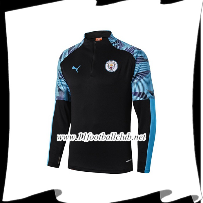 Le Nouveau Sweatshirt Training Manchester City Noir/Bleu 2019/20 Officiel