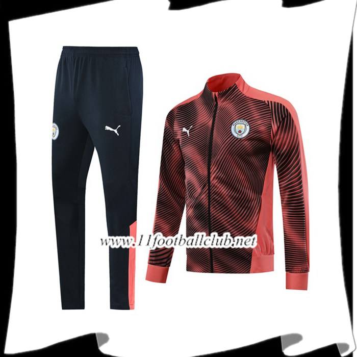 Le Nouveau Ensemble Veste Survetement Manchester City Noir/Rose 2019/20 Officiel