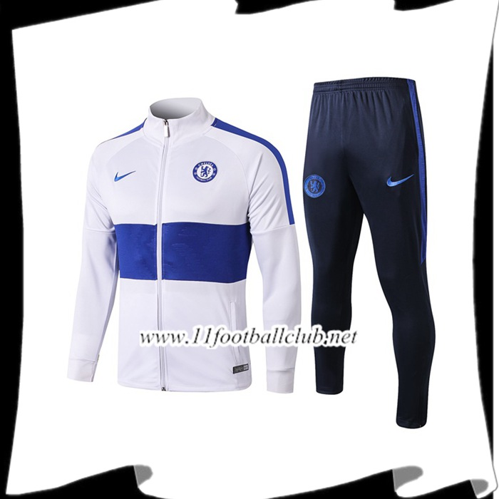 Le Nouveaux Ensemble Veste Survetement FC Chelsea Blanc 2019/20 Authentic
