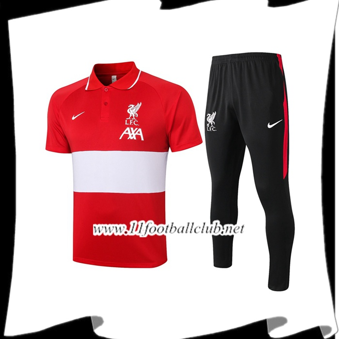 Le Nouveau Ensemble Polo FC Liverpool + Pantalon Blanc/Rouge 2020/2021
