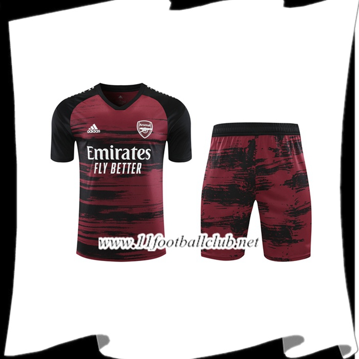 Le Nouveaux Ensemble Training T-Shirts Arsenal + Shorts Rouge/Noir 2020/2021