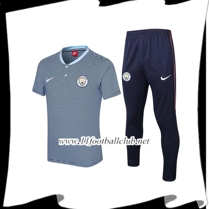 Le Nouveau Ensemble Polo Manchester City + Pantalon Bleu Fonce 2017/2018 Officiel