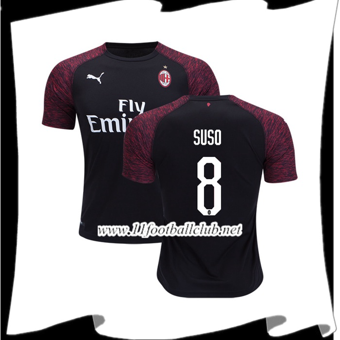 Flocage Maillot Foot Milan AC Suso 8 Third Rouge/Noir 2018 2019 Authentic