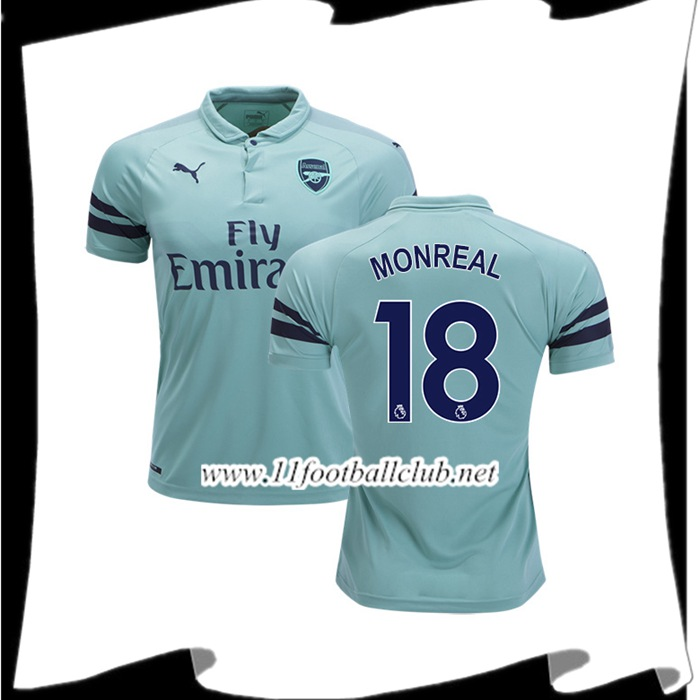 Boutique Maillot Du Arsenal Monreal 18 Third Vert clair 2018 2019 Vintage