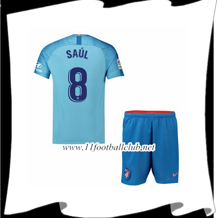 Site De Maillot De Foot Du Atletico Madrid 8 SAUL Enfant Exterieur Bleu 2018 2019 Authentic