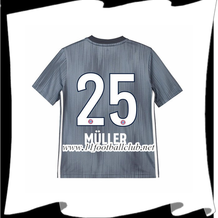 Créer Son Maillot Foot Bayern Munich Thomas Muller 25 Enfant Third Argent 2018 2019 Personnalisable