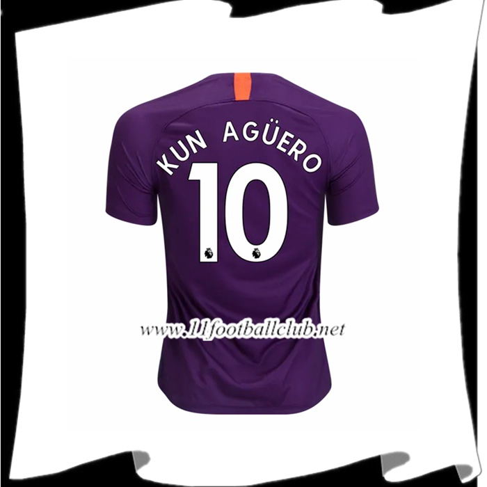 Boutique Le Maillot Du Manchester City Kun Aguero 10 Third Violet 2018 2019 Officiel