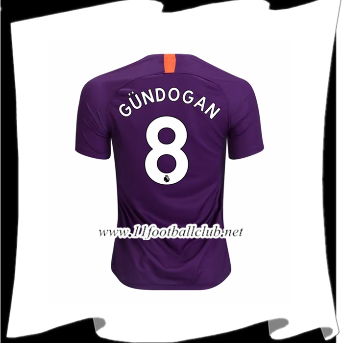 Jeu Maillot Foot Manchester City Ilkay Gundogan 8 Third Violet 2018 2019 Junior