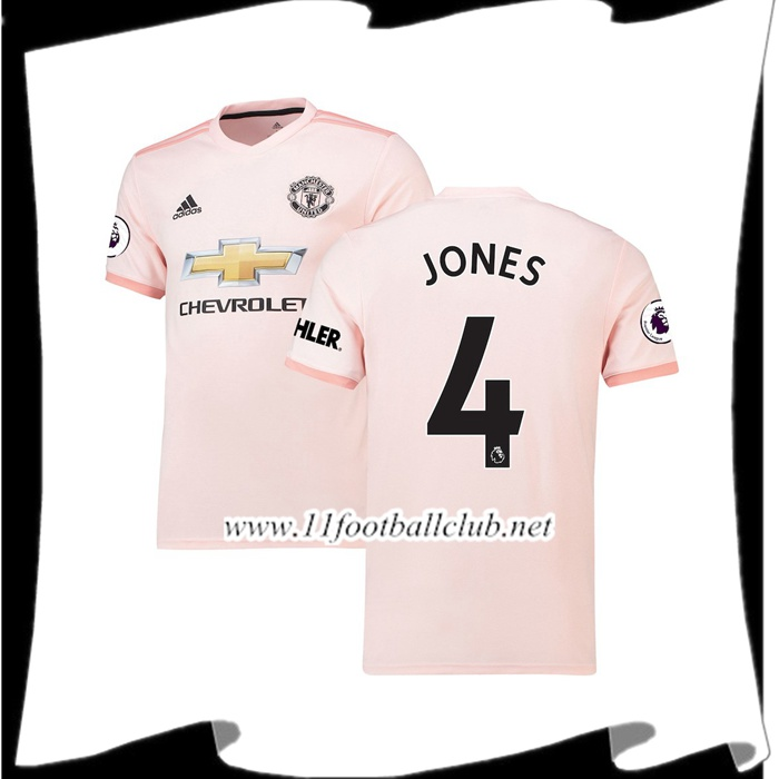 Créer Maillot Du Manchester United Phil Jones 4 Exterieur Rose 2018 2019 Authentic