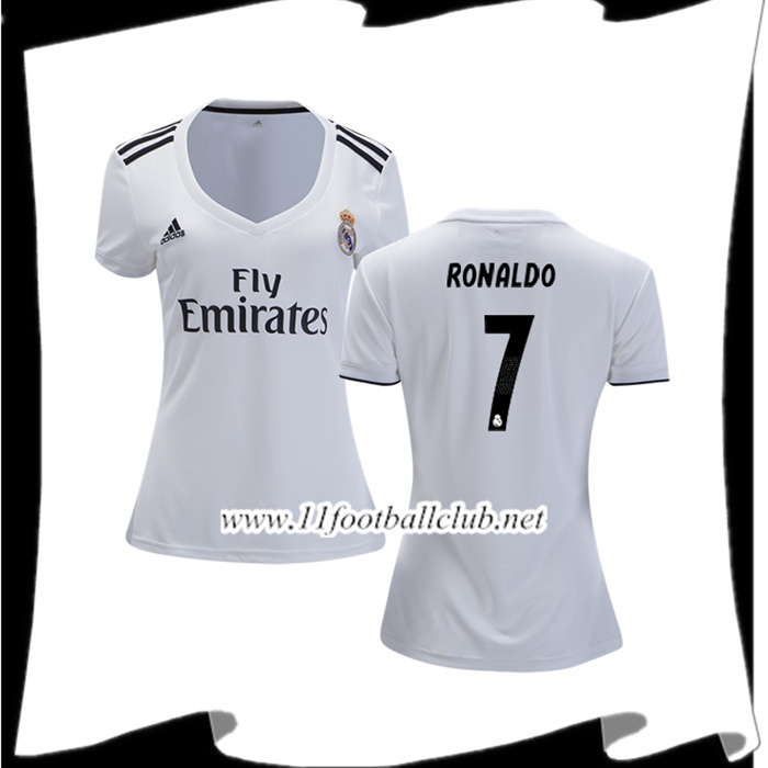 Boutique Maillot Real Madrid Cristiano Ronaldo 7 Femme Domicile Blanc 2018 2019 Vintage