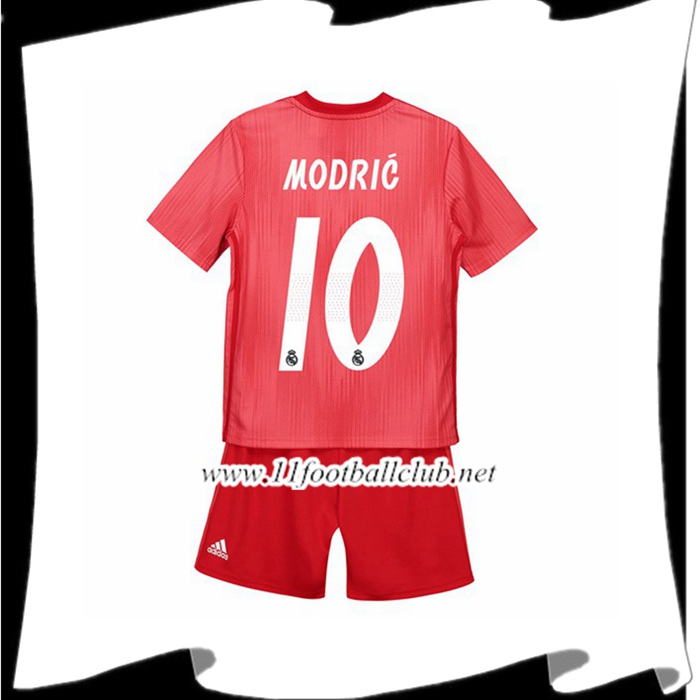 Création Maillot Foot Real Madrid 10 MODRIC Enfant Third Rouge 2018 2019 Junior