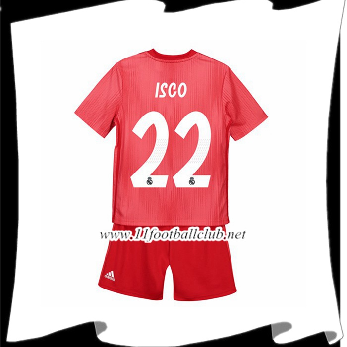 Créer Maillot Real Madrid 22 ISCO Enfant Third Rouge 2018 2019 Flocage