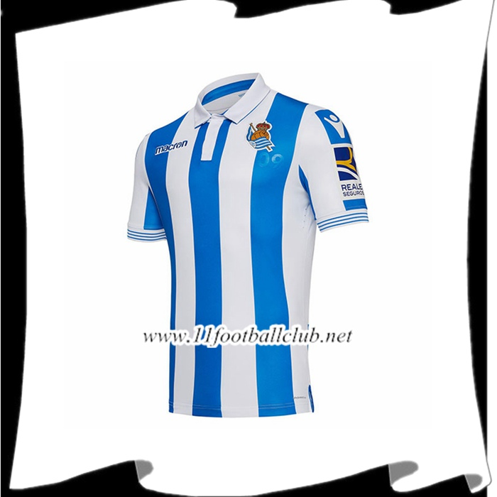 Magasin Maillot De Foot Real Sociedad Domicile Bleu et blanc 2018 2019 Officiel