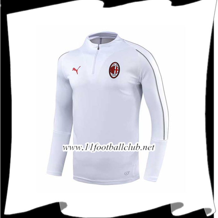 Magasin Sweatshirt Training Milan AC Blanc 2018/2019 Pas Cher Grossiste