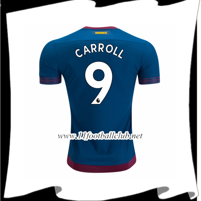 Boutique De Le Maillot De West Ham United Andy Carroll 9 Exterieur Bleu 2018 2019 Flocage