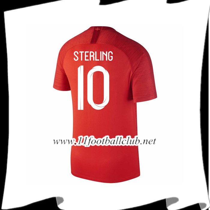 Nouveaux Maillot Equipe Angleterre STERLING 10 Exterieur Rouge 2018 2019