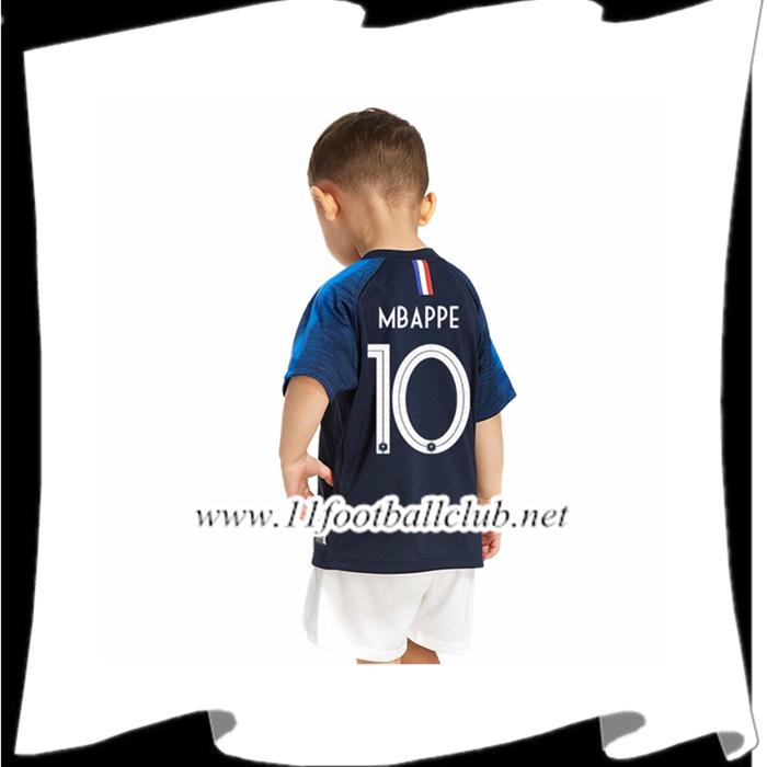 5f6e0212ccb06 Nouveaux Maillot De Foot Equipe De France Mbappe 10 Enfant Domicile Bleu 2018  2019
