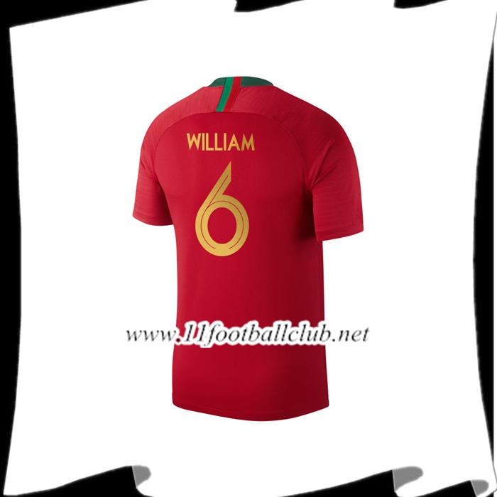Nouveau Maillot Portugal WILLIAM 6 Domicile Rouge Coupe Du Monde 2018