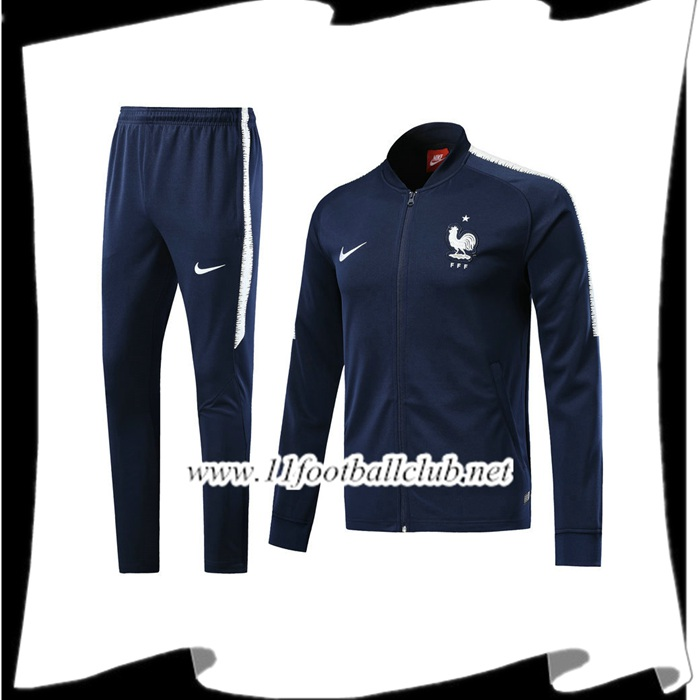 Le Nouveau Survetement de Foot - Veste France Bleu Marine Ensemble 2017/2018 Officiel