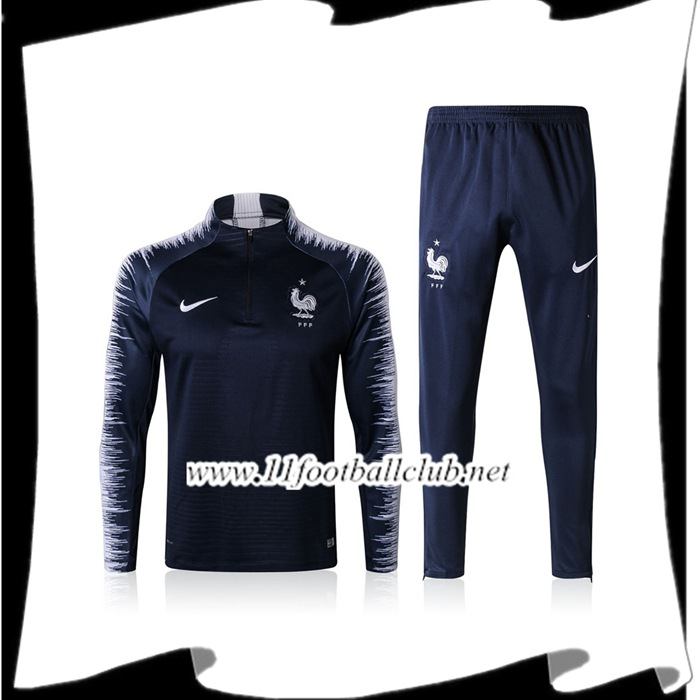Le Nouveaux Survetement de Foot France Bleu Marine/Blanc Ensemble 2017/2018 Authentic