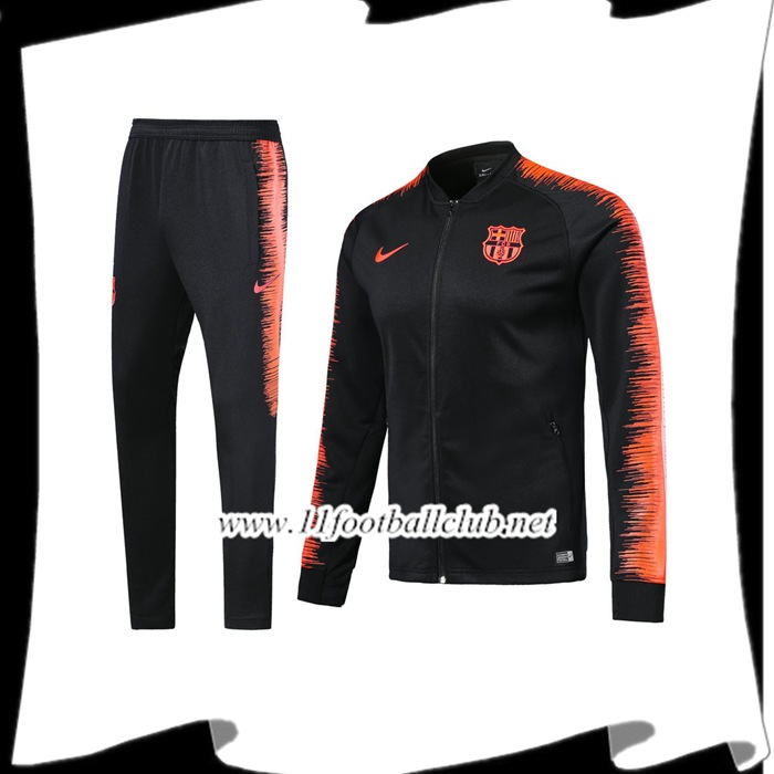 Le Nouveau Survetement de Foot - Veste FC Barcelone Bleu Marine/Orange 2017/2018 Personnalisable