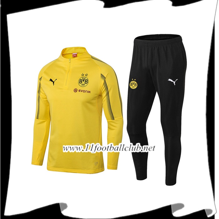 Flocage Ensemble Survetement de Foot Dortmund BVB Jaune 2018/2019 Pas Cher Officiel