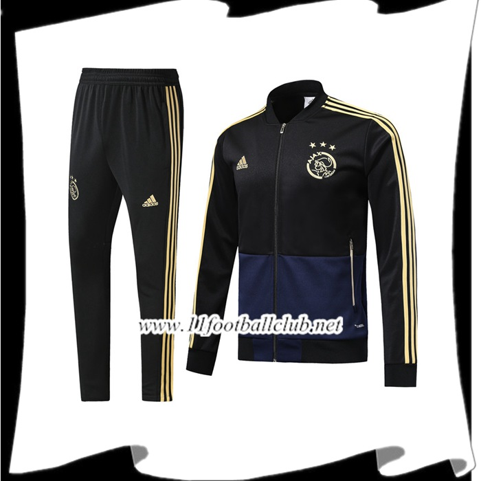 Magasin Ensemble Survetement de Foot - Veste AFC Ajax Noir 2018/2019 Pas Cher Online
