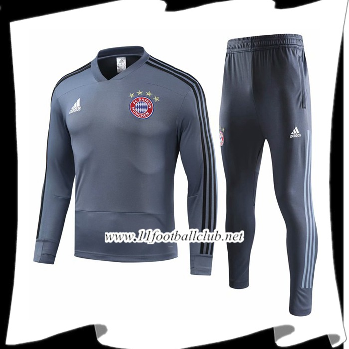 Le Nouveau Ensemble Survetement de Foot Bayern Munich Gris 2018/2019 Vintage