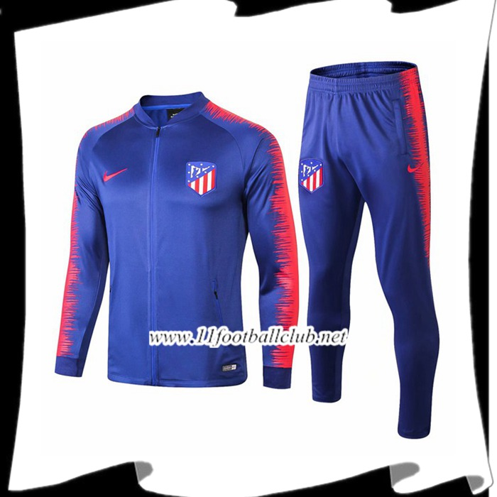 Le Nouveau Ensemble Survetement de Foot - Veste Atletico Madrid Bleu/Rouge 2018/2019 Officiel