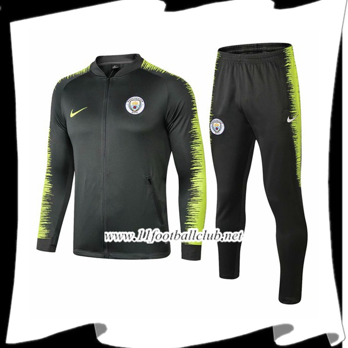 Le Nouveaux Ensemble Survetement de Foot - Veste Manchester City Vert 2018/2019 Authentic